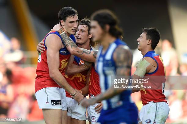 Oscar McInerney of the Lions celebrates kicking a goal during the round 12 AFL match between the North Melbourne Kangaroos and the Brisbane Lions at...
