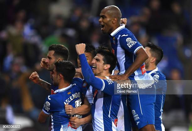 Oscar Melendo of Espanyol celebrates with team mates after scoring his sides first goal during the Spanish Copa del Rey Quarter Final First Leg match...