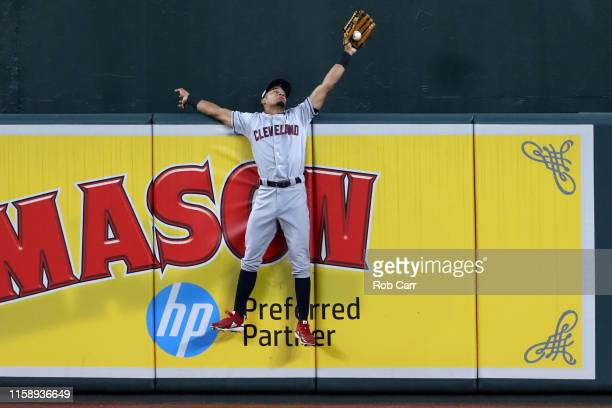 Oscar Mercado of the Cleveland Indians catches a ball hit by Chance Sisco of the Baltimore Orioles for the third out of the fifth inning at Oriole...