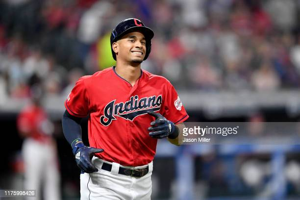 Oscar Mercado of the Cleveland Indians reacts after hitting a long foul ball with men on base during the third inning against the Detroit Tigers at...