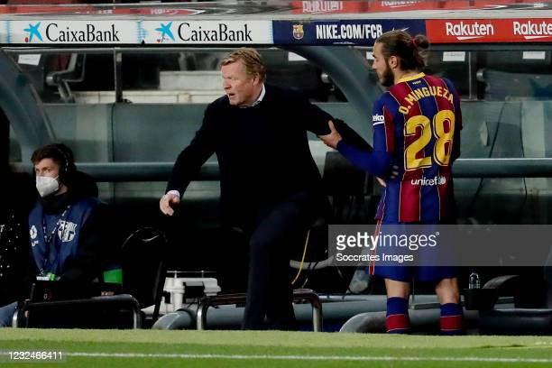 Oscar Mingueza of FC Barcelona, coach Ronald Koeman of FC Barcelona during the La Liga Santander match between FC Barcelona v Getafe at the Camp Nou...