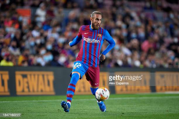 Oscar Mingueza of FC Barcelona controls the ball during the LaLiga Santander match between FC Barcelona and Valencia CF at Camp Nou on October 17,...