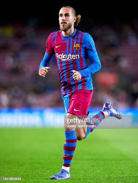 Oscar Mingueza of FC Barcelona in action during the La Liga Santander match between FC Barcelona and Granada CF at Camp Nou on September 20, 2021 in...