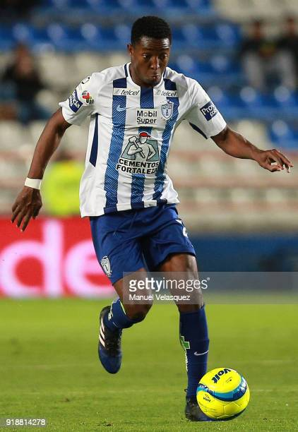 Oscar Murillo of Pachuca drives the ball during the 7th round match between Pachuca and Tijuana as part of the Torneo Clausura 2018 Liga MX at...
