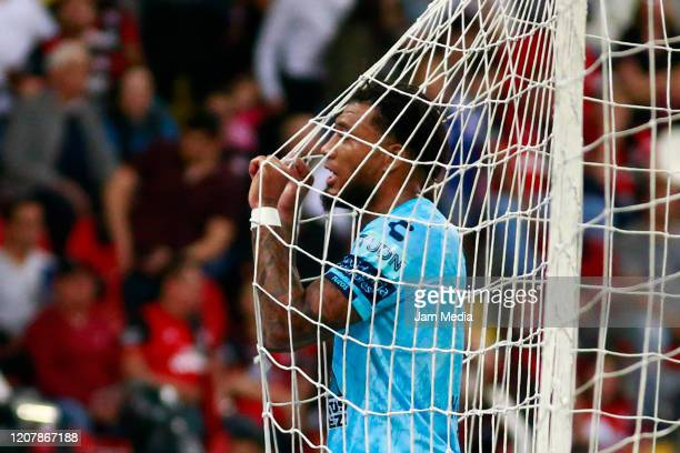 Oscar Murillo of Pachuca reacts during the 7th round match between Atlas and Pachuca as part of the Torneo Clausura 2020 Liga MX at Jalisco Stadium...