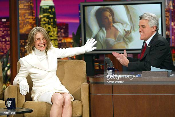 Oscar nominated actress Diane Keaton appears on 'The Tonight Show with Jay Leno' on February 13 2004 at the NBC Studios in Burbank California