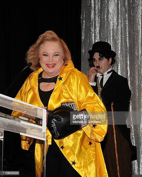Oscar nominated composer Carol Conners addresses the audience during the Hollywood Arts Council's 25th Annual Charlie Awards Luncheon at The...
