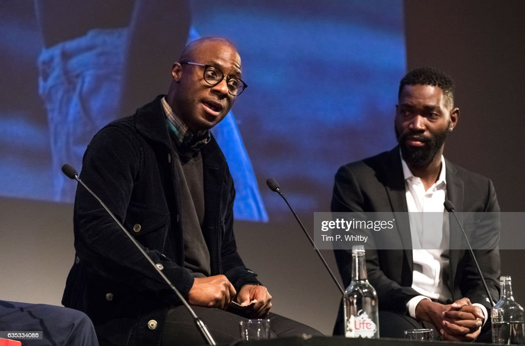 Oscar nominated director Barry Jenkins (l) and Playwright Tarell Alvin McCraney take part in a Q&A after a preview screening of Moonlight at BFI Southbank on February 14, 2017 in London, United Kingdom.