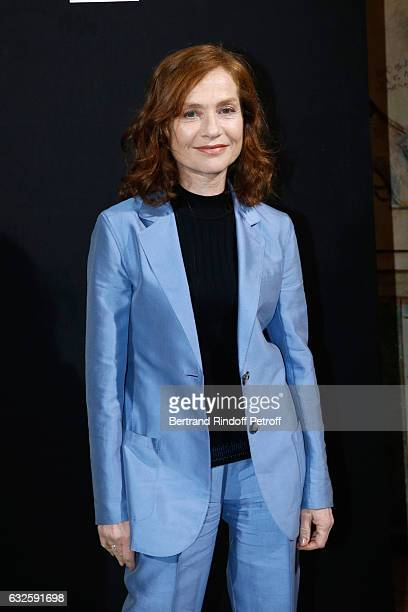 Oscar nominee Isabelle Huppert dressed in Armani attends the Giorgio Armani Prive Haute Couture Spring Summer 2017 show as part of Paris Fashion Week...