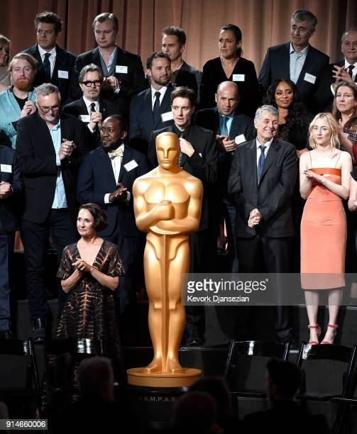 Oscar nominees including Jason Blum Christopher Nolan Sam Rockwell Emma Thomas Steve James Gary Oldman and Saoirse Ronan and Laurie Metcalf attend...