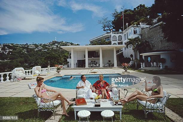 Oscar Obregon Salazar Gomez Velez Guzman y Murphy with Karen Murphy Robin Goodland and Melissa Engelhardt at the Villa Nirvana hotel Acapulco Mexico...
