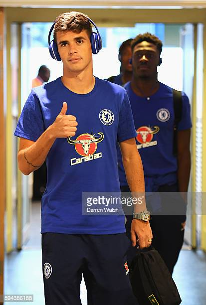 Oscar of Chelsea arrives prior to the EFL Cup second round match between Chelsea and Bristol Rovers at Stamford Bridge on August 23 2016 in London...