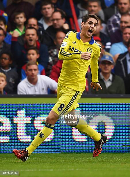 Oscar of Chelsea as he scores their first goal from a free kick during the Barclays Premier League match between Crystal Palace and Chelsea at...