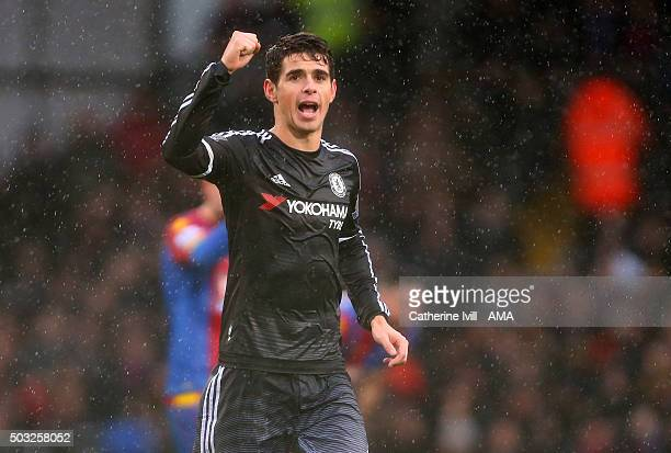 Oscar of Chelsea celebrates after scoring the opening goal during the Barclays Premier League match between Crystal Palace and Chelsea at Selhurst...