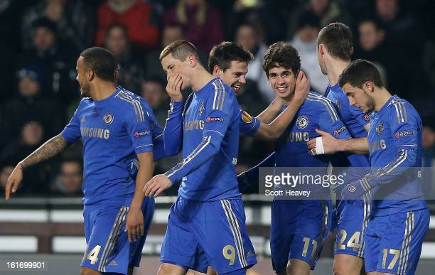 Oscar of Chelsea celebrates after scoring their first goal during the UEFA Europa League match between AC Sparta Praha and Chelsea on February 14...