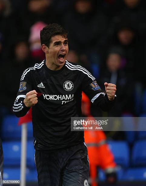 Oscar of Chelsea celebrates after Willian of Chelsea scores to make it 02 during the Barclays Premier League match between Crystal Palace and Chelsea...