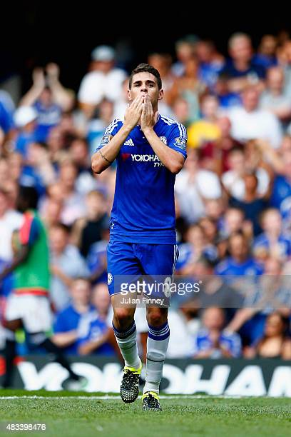 Oscar of Chelsea celebrates scoring his team's first goal uring the Barclays Premier League match between Chelsea and Swansea City at Stamford Bridge...