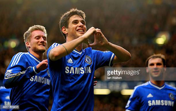 Oscar of Chelsea celebrates scoring the first goal during the FA Cup Fourth Round between Chelsea and Stoke City at Stamford Bridge on January 26...
