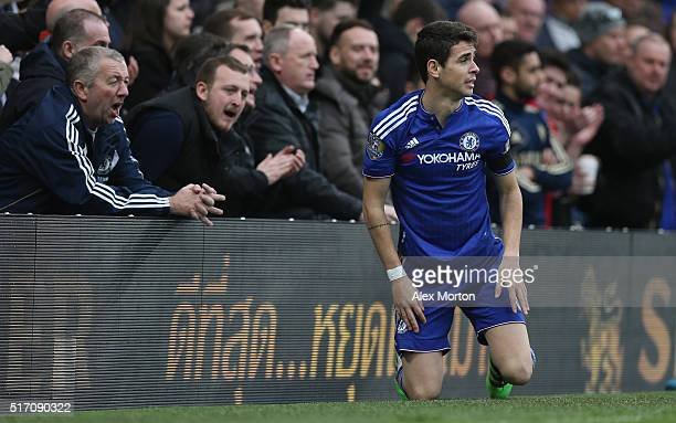 Oscar of Chelsea during the Barclays Premier League match between Chelsea and West Ham at Stamford Bridge on March 19 2016 in London United Kingdom