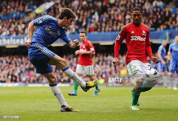 Oscar of Chelsea in action during the Barclays Premier League match between Chelsea and Swansea City at Stamford Bridge on April 28, 2013 in London,...