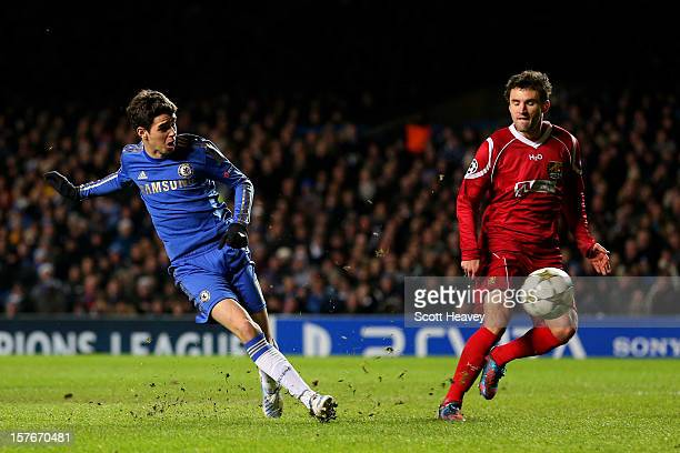 Oscar of Chelsea scores his team's sixth goal during the UEFA Champions League group E match between Chelsea and FC Nordsjaelland at Stamford Bridge...