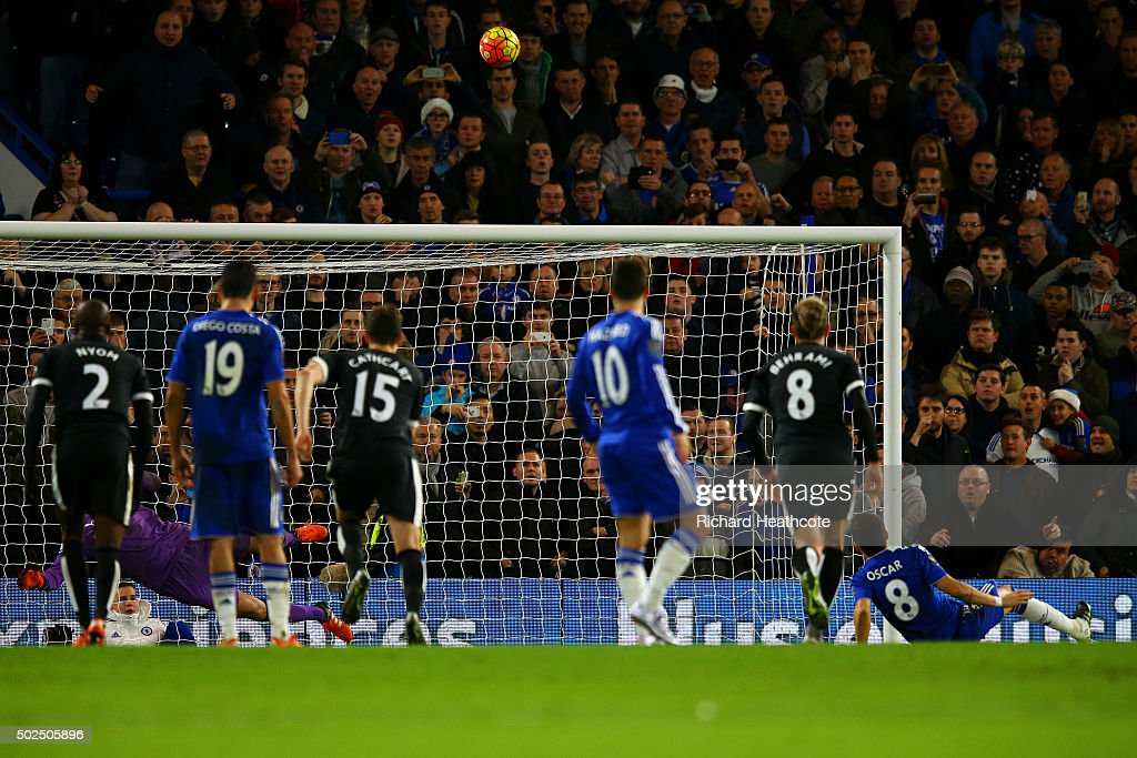 Oscar of Chelsea watches the ball fly over the bar after he slipped taking a penalty during the Barclays Premier League match between Chelsea and Watford at Stamford Bridge on December 26, 2015 in London, England.
