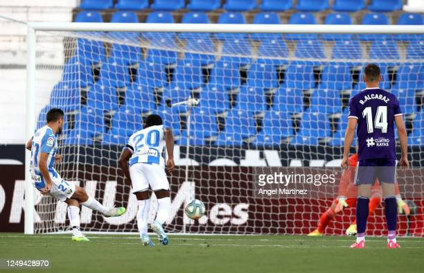 Oscar of Leganes scores his sides first goal from the penalty spot during the Liga match between CD Leganes and Real Valladolid CF at Estadio...