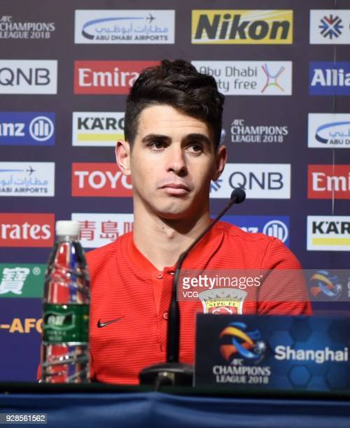 Oscar of Shanghai SIPG attends a press conference after the AFC Champions League Group F match between Shanghai Shenhua and Ulsan Hyundai at Shanghai...