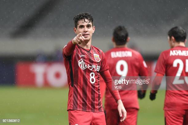 Oscar of Shanghai SIPG celebrates a goal during the 2018 AFC Champions League Group F match between Shanghai SIPG and Melbourne Victory at Shanghai...