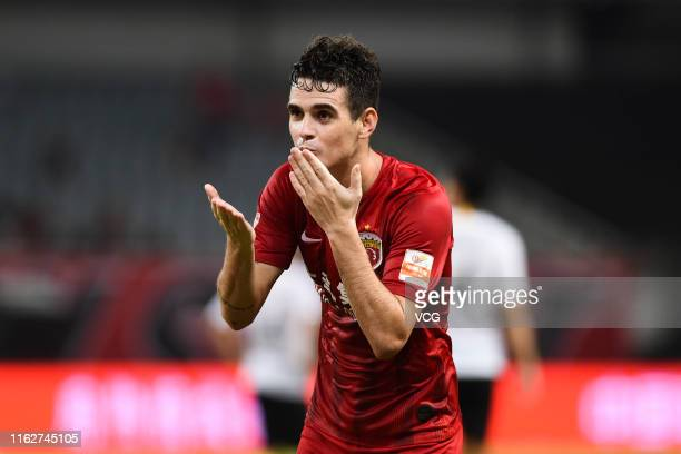 Oscar of Shanghai SIPG celebrates after scoring a goal during the 18th round match of 2019 Chinese Football Association Super League between Shanghai...