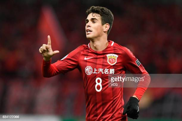 Oscar of Shanghai SIPG celebrates after scoring his team's first goal during the AFC Champions League 2017 playoff match between Shanghai SIPG and...