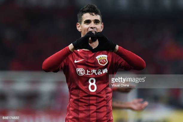 Oscar of Shanghai SIPG celebrates after scoring his team's second goal during the AFC Champions League 2017 Group F match between Shanghai SIPG and...