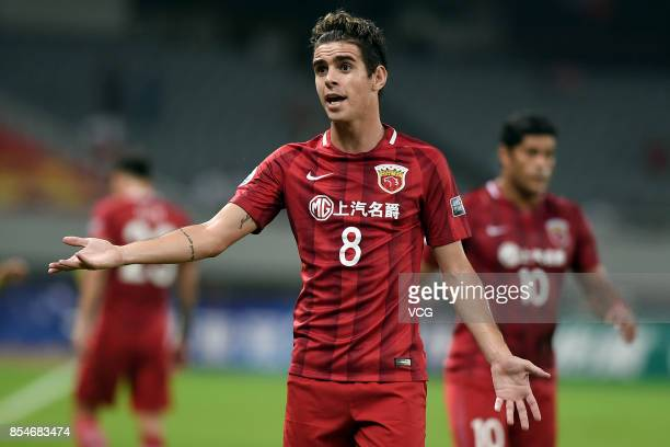Oscar of Shanghai SIPG reacts during 2017 AFC Champions League semifinal first leg match between Shanghai SIPG and Urawa Red Diamonds at Shanghai...