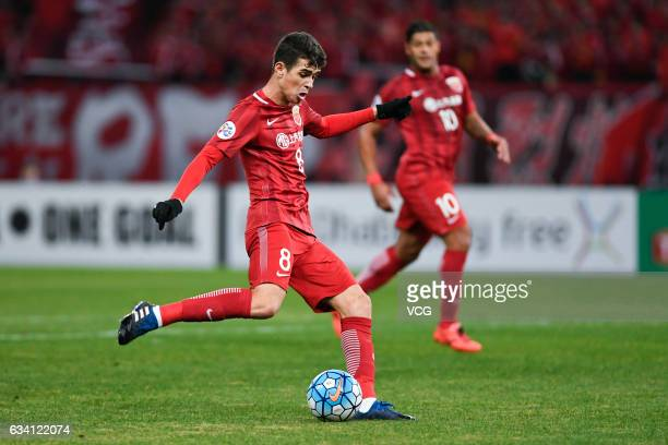 Oscar of Shanghai SIPG scores his team's first goal during the AFC Champions League 2017 playoff match between Shanghai SIPG and Sukhothai at...