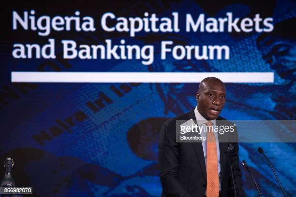 Oscar Onyema chief executive officer of the Nigeria Stock Exchange speaks during the Nigeria Capital Markets and Banking Forum in London UK on Friday...