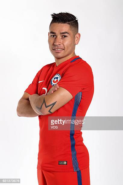 Oscar Opazo of Chile poses during the team presentation ahead of the 2017 Gree China Cup International Football Championship on January 9 2017 in...