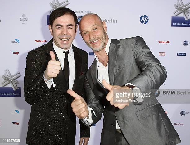 Oscar Ortega Sanchez and Simon Licht arrive for the Felix Burda Award Gala 2011 at Hotel Adlon on April 10 2011 in Berlin Germany