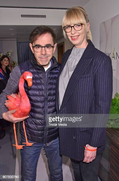 Oscar Ortega Sanchez and Uta Hansen during KIK/ANN fashion show on the smallest catwalk of the world at Art'Otel Mitte on January 19 2018 in Berlin...
