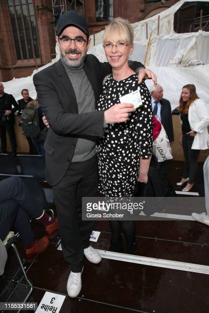 Oscar Ortega Sanchez and Uta Hansen during the opening of the Nibelungen Theatre Festival at St Peter's Cathedral on July 12 2019 in Worms Germany On...