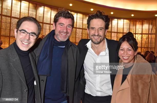 Oscar Ortega Sanchez Stephan Szasz Oliver Mommsen and MinhKhai PhanThi attend the Ab jetzt theater premiere on January 26 2020 in Berlin Germany
