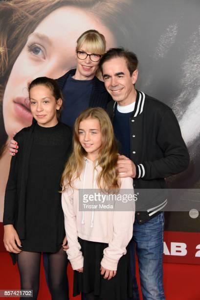 Oscar Ortega Sanchez with his wife Uta Hansen his daughter Josephine Hansen and his daughter Elise Hansen attend the 'Rock my heart' Premiere at...