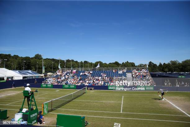 Oscar Otte of Germany and Sergiy Stakhovsky of the Ukraine get their match underway during the Men's final between Sergiy Stakhovsky of the Ukraine...