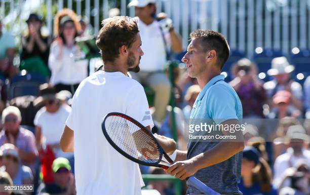 Oscar Otte of Germany and Sergiy Stakhovsky of the Ukraine shake hands at the end of the match during the Mens final on day Eight of the Fuzion 100...