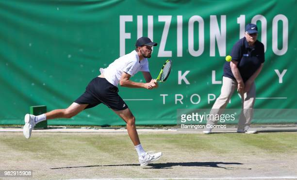 Oscar Otte of Germany in action during the Men's final between Sergiy Stakhovsky of the Ukraine and Oscar Otte of Germany on day Eight of the Fuzion...
