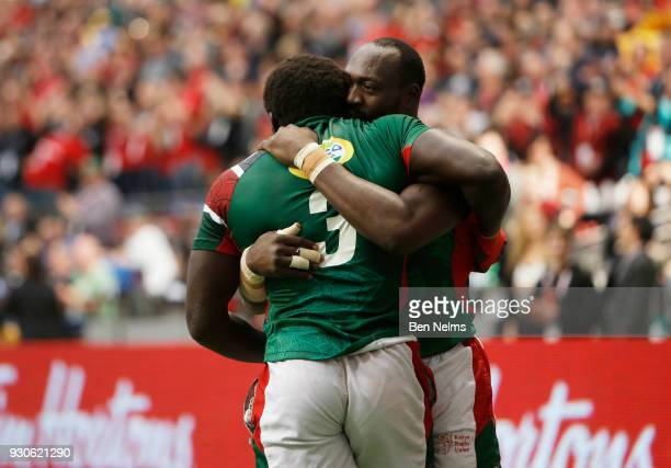 Oscar Ouma of Kenya celebrates scoring the winning try against the United States during the Canada Sevens the Sixth round of the HSBC Sevens World...