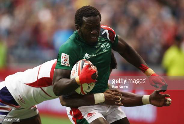 Oscar Ouma of Kenya scores the winning try against the United States during the Canada Sevens the Sixth round of the HSBC Sevens World Series at the...
