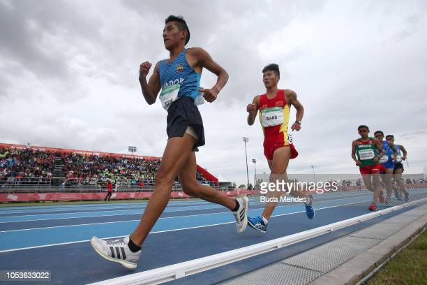 Oscar Patin of Ecuador competes in 5000m Race Walk Stage 1during day 5 of Buenos Aires 2018 Youth Olympic Games at Youth Olympic Park Villa Soldati...