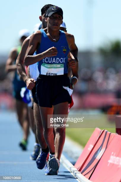 Oscar Patin of Ecuador wins the gold medal in Men's 5000m Race Walk Stage 2during day 9 of Buenos Aires 2018 Youth Olympic Games at Youth Olympic...