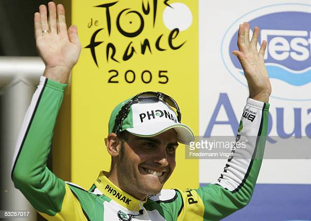 Oscar Pereiro Sio of Spain from the Phonak Team celebrates on the podium after winning stage 16 of the 92nd Tour de France between Mourenx and Pau on...