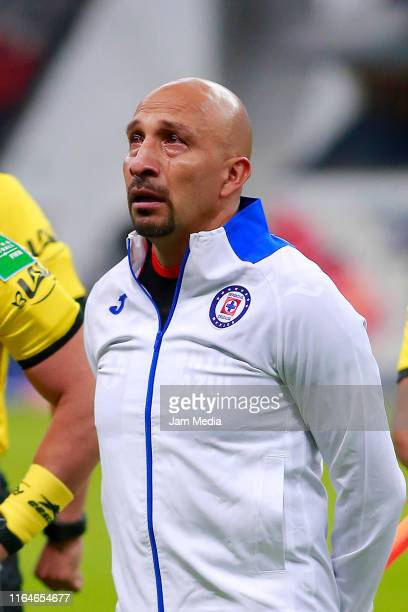 Oscar Perez goalkeeper of Cruz Azul looks on the 2nd round match between Cruz Azul and Toluca as part of the Torneo Apertura 2019 Liga MX at Azteca...